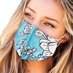 Sky Blue Floral Face Mask Anti-pollution Washable